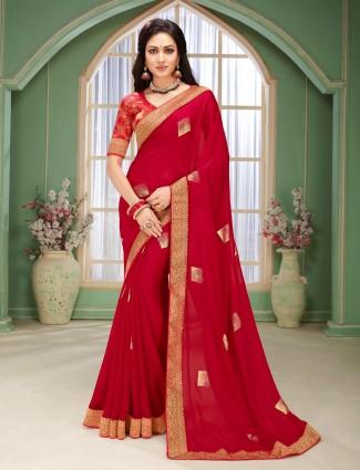 Magenta chiffon festive wear sari