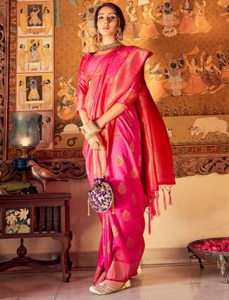 Magenta color wedding wear jacquard silk saree