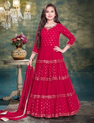 Magenta georgette festive wear gown