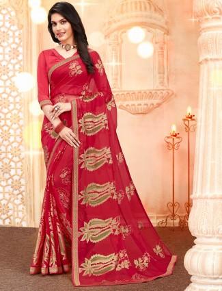 Magenta  georgette festive wear saree