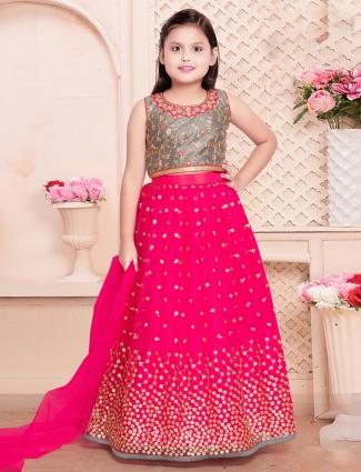 Magenta georgette lehenga choli for girls