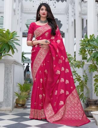 Magenta lavish hue wedding sessions banarasi silk saree