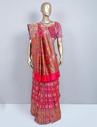 Magenta patola silk sarI for wedding