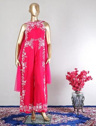 Magenta raw silk indo western salwar kameez for wedding