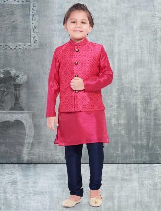 Magenta raw silk waistcoat set for boys