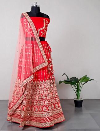 Magenta raw silk wedding wear unstitched lehenga choli