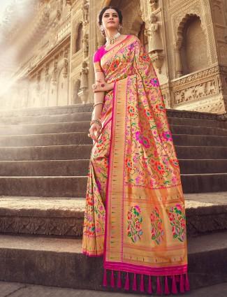 Magenta rich wedding wear saree in banarasi silk