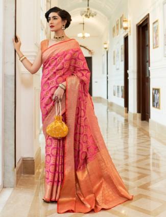 Magenta saree design in semi banarasi silk