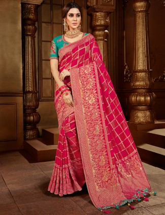 Magenta saree for wedding ceremony in dola silk