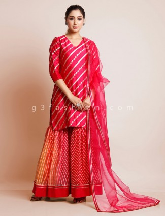 Magenta sharara suit in cotton silk and georgette fabric