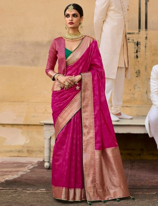 Magenta silk printed saree for wedding events