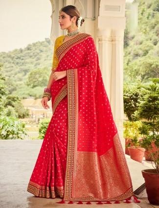 Magenta silk saree for wedding events