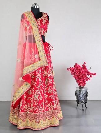 Magenta silk wedding lehenga choli