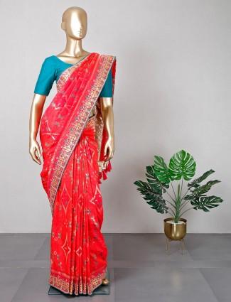 Magenta silk wedding wear saree