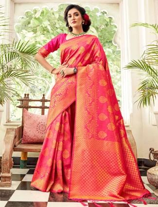 Magenta stunning hue silk saree
