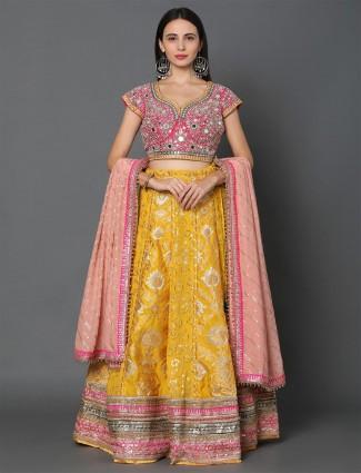 Magenta-yellow banarasi silk lehenga for wedding session