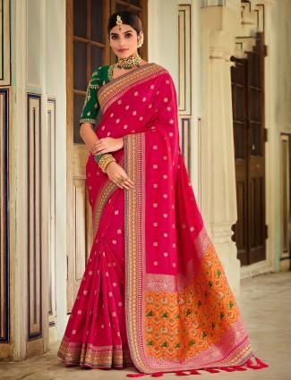 Magenta zari inflated wedding wear patola silk saree