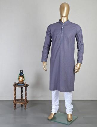 Magestic grey cotton kurta suit for mens
