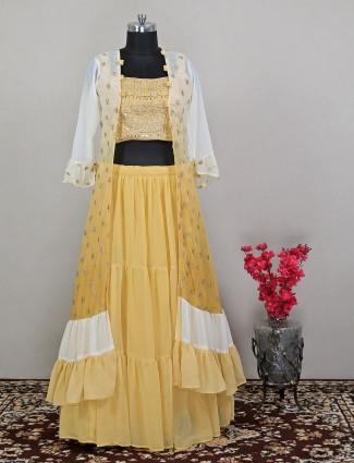 Magestic yellow georgette wedding lehenga choli