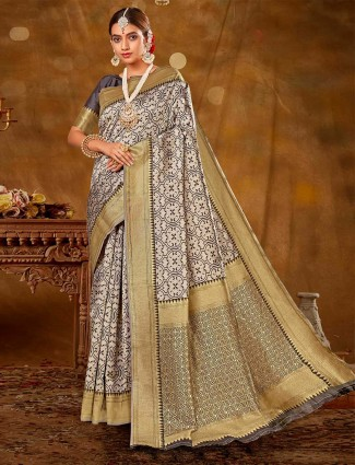 Magnificent beige banarasi silk saree for wedding functions