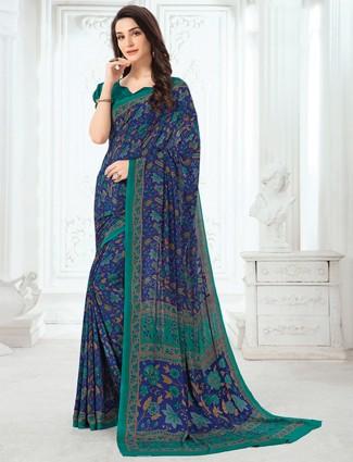 Magnificent crepe blue printed saree