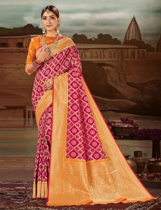 Magnificent magenta banarasi silk saree for wedding