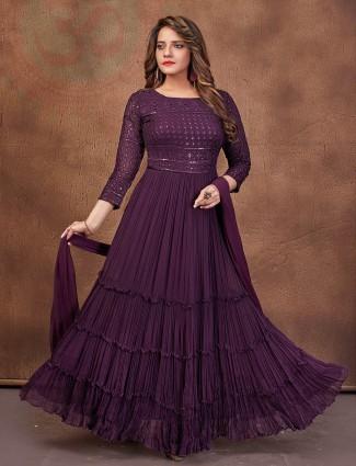 Magnificent purple georgette anarkali suit