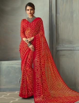 Magnificent red printed chiffon bandhani saree for festive
