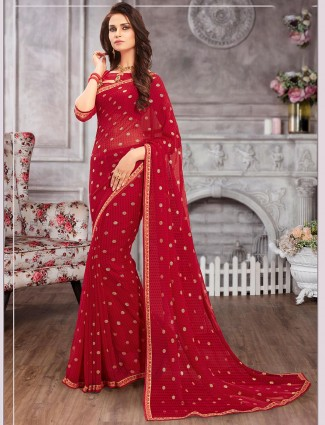 Magnificent red printed georgette saree for festive wear