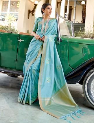 Magnificent sky blue banarasi silk saree for wedding functions