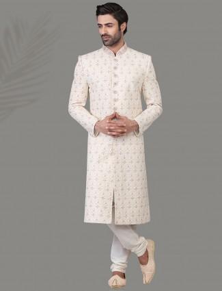 Magnificent white jacquard silk sherwani