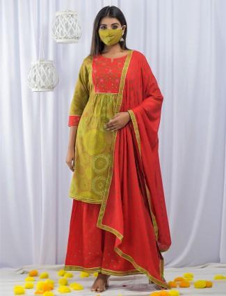 Mahendi green cotton festive wear printed punjabi style palazzo suit