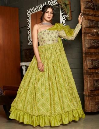 Mahendi green pretty floor-length gown in georgette fabric