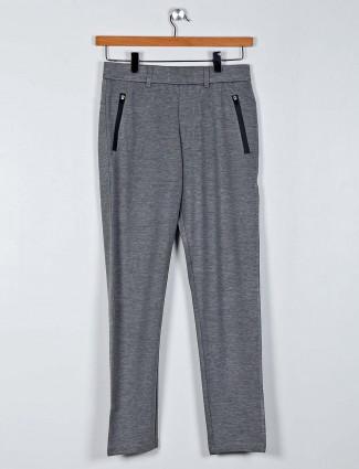 Maml grey solid cotton casual wear payjama