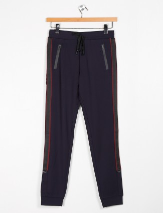 Maml navy cotton solid night track pant