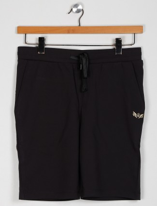 Maml solid black cotton casual shorts