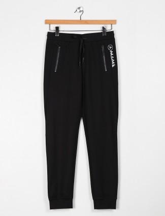 Maml solid black cotton track pant