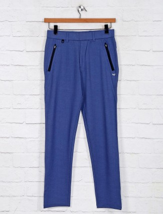 Maml solid blue color track pant