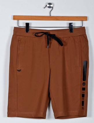 Maml solid brown cotton casual shorts