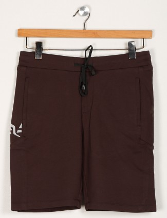 Maml solid brown cotton shorts