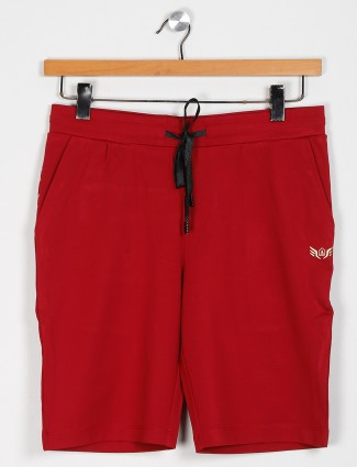 Maml solid comfortable red shorts