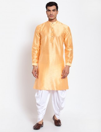 Marigold orange hue festive wear kurta with dhoti