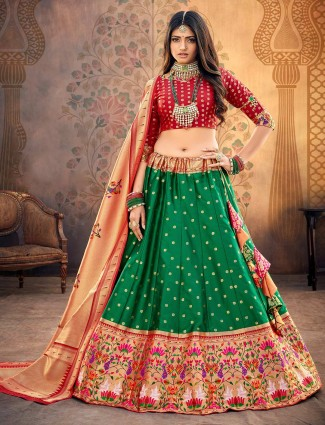 maroon and green designer semi stitched banarasi silk lehenga choli