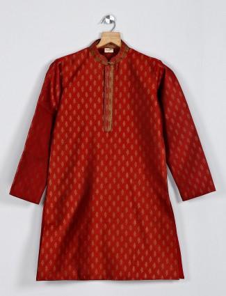 Maroon boys kurta suit in cotton silk