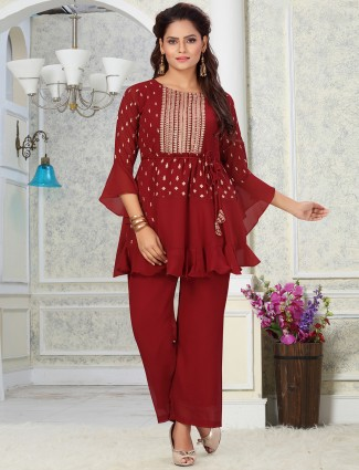 Maroon casual occasions georgette punjabi style pant suit