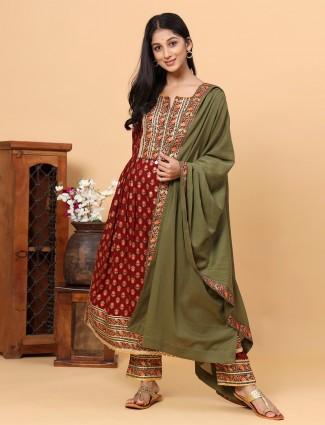 Maroon charming punjabi style printed cotton festive wear pant suit