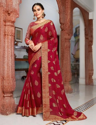 Maroon chiffon saree with unstitched blouse piece