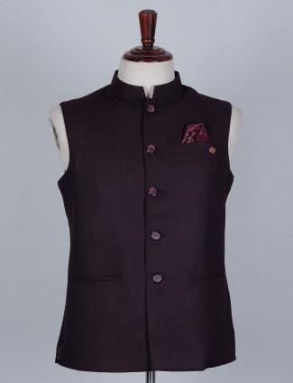 Maroon colored terry rayon waistcoat