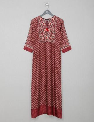 Maroon cotton casual wear printed kurti