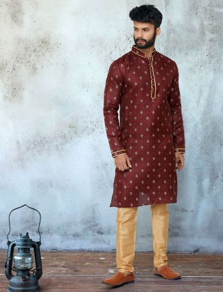 Maroon cotton farbic festive wear printed kurta suit